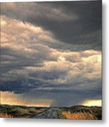 Approaching Storm On Country Road Metal Print