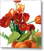 Apricots And Red Roses Metal Print