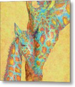 Aqua And Orange Giraffes Metal Print