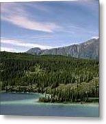 Aqua Green Mountain Lake Metal Print