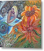 Aqua Maiden Collage Metal Print