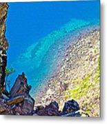 Aquamarine Shoreline At North Junction Of Crater Lake In Crater Lake National Park-oregon Metal Print