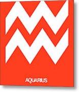 Aquarius Zodiac Sign White On Orange Metal Print