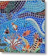 Aquatic Mosaic Tile Art Metal Print