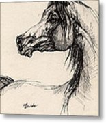 Arabian Horse Drawing 26 Metal Print