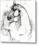 Arabian Horse Drawing 8 Metal Print by Angel  Tarantella