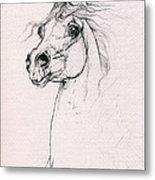 Arabian Horse Portrait 2014 02 25 Metal Print