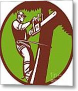 Arborist Tree Surgeon Trimmer Pruner Metal Print
