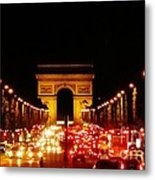 Arc De Triomphe At Night Metal Print