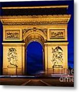 Arc De Triomphe At Night Paris France Metal Print