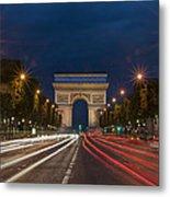 Arch De Triomphe And Avenue Des Champs Elysees Paris France Metal Print