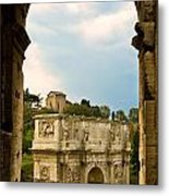 Arch Of Constantine Through The Colosseum Metal Print