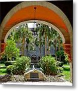 Arched Courtyard Metal Print