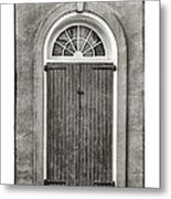 Arched Door In French Quarter In Black And White Metal Print
