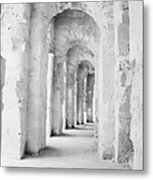 Arched Walkway At Entrance Of The Old Roman Colloseum At El Jem Tunisia Metal Print