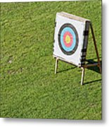 Archery Round Target On A Stand Metal Print