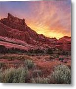 Arches Fire In The Sky Metal Print