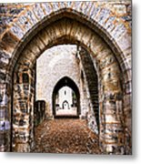 Arches Of Valentre Bridge In Cahors France Metal Print