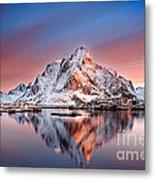 Arctic Dawn Over Reine Village Metal Print
