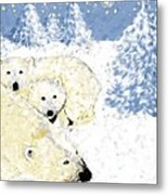 Arctic Family - Getting Cozy Metal Print