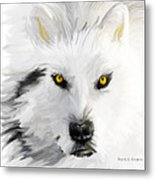 Arctic Wolf With Yellow Eyes Metal Print