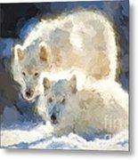 Arctic Wolves - Painterly Metal Print