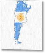 Argentina Painted Flag Map Metal Print