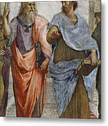 Aristotle And Plato Detail Of School Of Athens Metal Print