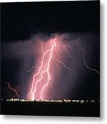 Arizona  Lightning Over City Lights Metal Print