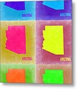 Arizona Pop Art Map 4 Metal Print