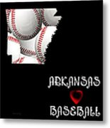 Arkansas Loves Baseball Metal Print by Andee Design