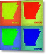 Arkansas Pop Art Map 1 Metal Print by Naxart Studio