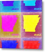 Arkansas Pop Art Map 2 Metal Print by Naxart Studio