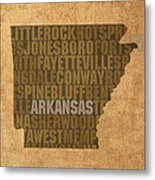 Arkansas Word Art State Map On Canvas Metal Print
