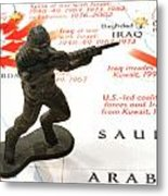Army Man Standing On Middle East Conflicts Map Metal Print