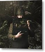 Army Soldier With Security Screen Saver Metal Print