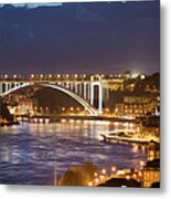 Arrabida Bridge At Night In Porto And Gaia Metal Print