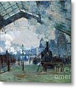 Arrival Of The Normandy Train Gare Saint-lazare Metal Print