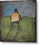 art critic relieves himself on Rothko's field Metal Print