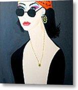 Art Deco  Hippy Girl Metal Print