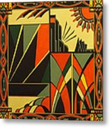 Art Deco In Orange Metal Print