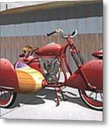 Art Deco Motorcycle With Sidecar Metal Print