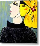 Yellow Bow Metal Print