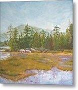 landscape print art for sale oil painting Serene Metal Print