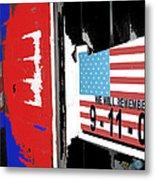 Art Homage Jasper Johns American Flag 9-11-01 Memorial Collage Barber Shop Eloy Az 2004-2012 Metal Print