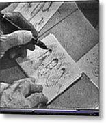 Art Homage Ted Degrazia Pen Ink Drawing On Camera Kvoa Tv Studio January 1966  Metal Print