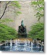 Art Institute Fountain Metal Print