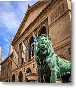 Art Institute Of Chicago Lion Statue Metal Print by Paul Velgos
