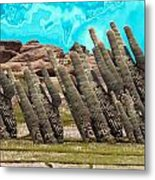 Art No.1900 American Landscape Cactus Stone Mountains And Skyview By Navinjoshi Artist Toronto Canad Metal Print