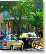 Art Of Montreal Day With Daddy And Yellow Wagon Zooming Our Streets Of Verdun Scene Carole Spandau  Metal Print